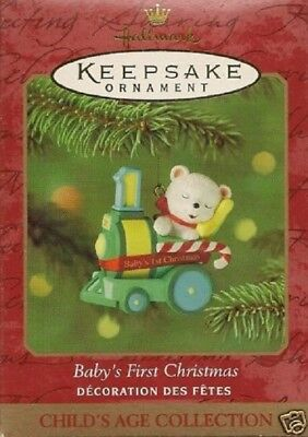 2001~Hallmark~Baby's First Christmas~Child's Age Collection~Bear~Train~Dated