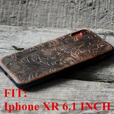 """handmade Genuine leather cover case FOR iphone XR 6.1"""" inch Leather Back"""