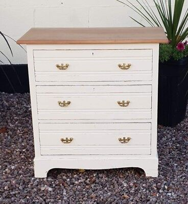 Antique Edwardian  Chest Of Drawers Satin Wood Painted Shabby Chic  Natural Top