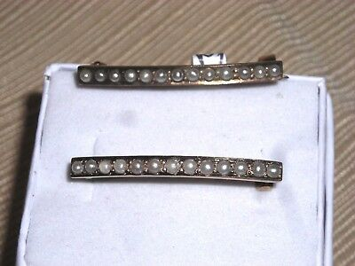 Pair of Matching Wonderful 10K Yellow Gold Seed Pearl Victorian Bar Pins