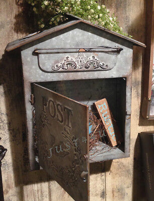Vintage Chic Shabby Cottage Metal Bird House Mailbox~French Letter Wall Postbox