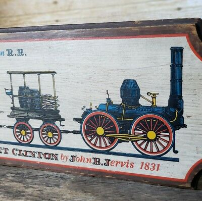 Vtg York PA Yorkraft Old Wood Railroad Train Sign Mohawk & Hudson Dewitt Clinton