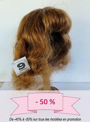 -50% PROMO PERRUQUE de POUPEE T9 (32cm) 100% cheveux  mi-long Chatain-roux