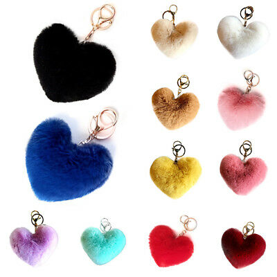 Key Chains Soft Fluffy Faux Rabbit Fur Pompom Heart Key Ring Hangbag Charm