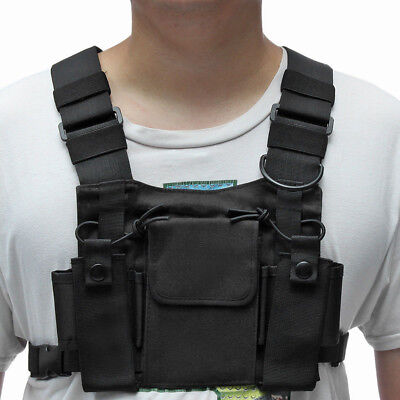 Hot Holster Vest Rig Bag Radios Pocket Radio Chest Harness Front Pack Pouch AU