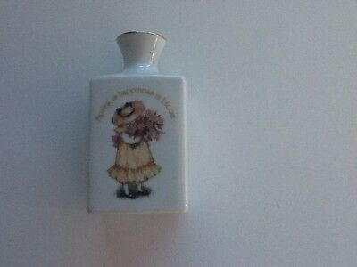Holly Hobbie vintage porcelain square shape vase yellow girl with flowers