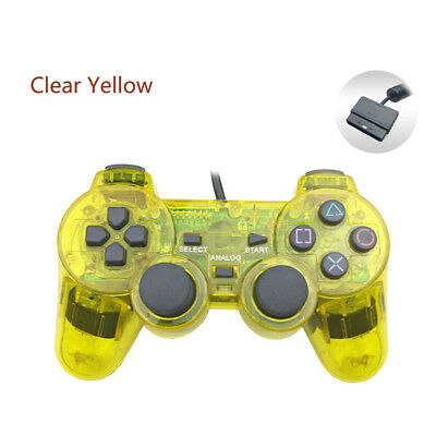 Clear Yellow Wired DualShock Gamepad Controller for Sony PlayStation PS2