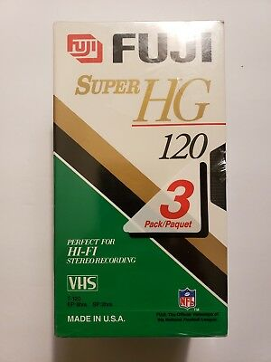 Fuji VHS Blank Tapes 6 hours 3 Pack High Quality T-120 New  Sealed Fujifilm