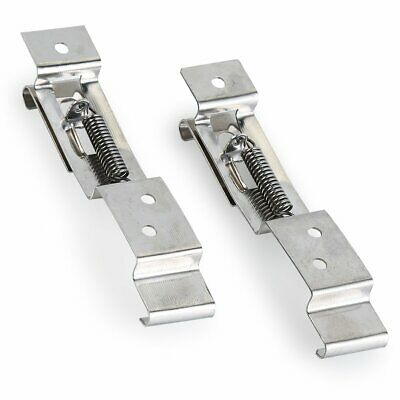 2 Pack Trailer Number Plate Clips / Holder Spring Loaded Stainless Steel Silver