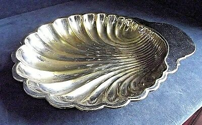 "SMART Large 14"" ~ SILVER Plated ~ SCALLOP Shell ~Fruit / Snack BOWL ~ c1920"