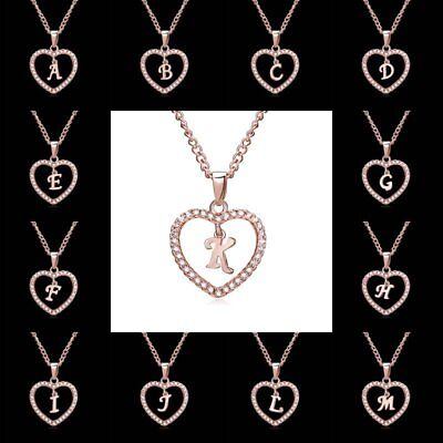 Fashion Crystal Initial Alphabet Letter A-Z Love Heart Pendant Necklace UK STOCK