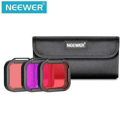 Neewer 3pcs Red/Light Red/Magenta Diving Filters for GoPro Hero 7 6 5
