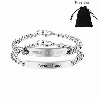 Stainless Steel Personalized Custom Name Bracelet Valentine's Day Jewellery Gift