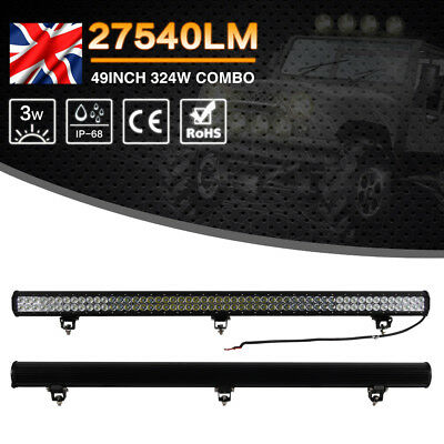 1x 49'' Inch 324W LED Work Light Bar Offroad Lamp 6000K White For Car Truck Boat