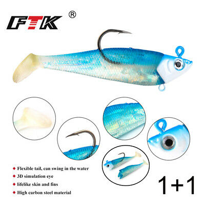 Shad Silicone  sea fly fishing Minnow Lure worm  Soft  bass Bait Lead Head hook