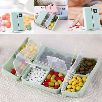 Seven Grids Vitamins Case Pill Box 7-day Weekly Capsules Splitters Magnet Lid