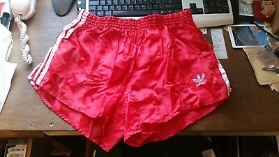 Adidas Vintage Glanz Shiny Nylon Satin Sprinter Shorts RED D7 with lining