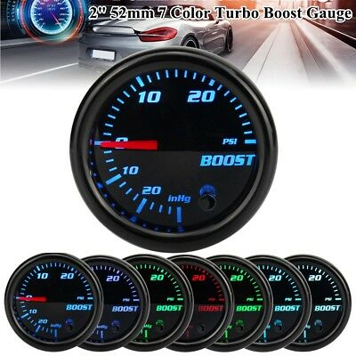 2'' 52mm Car 7 Color LED Turbo Boost PSI Pressure Vacuum Pointer Gauge Meter