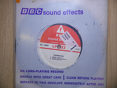 """BBC Sound Effects 7"""" Record - Gardening, Hedge Clipping, Sickle, Etc. EC186D"""