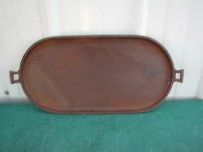 """Vintage Rustic Cast Iron Platter Oval Shaped with Handles size 22""""x 11"""""""