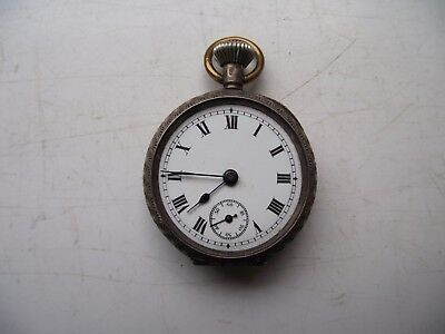 Antique 1911 Sterling Silver Hallmarked Pocket Watch Swiss 15 Jewels See Pics