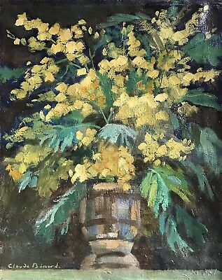 Claude Benard (1926-2016) Fine French Impressionist Oil - Yellow Flowers In Vase