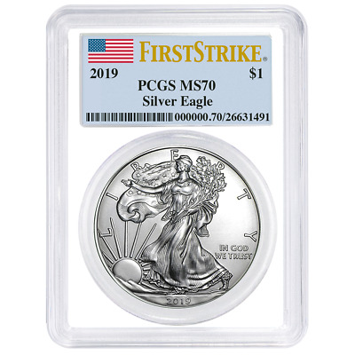 2019 $1 American Silver Eagle PCGS MS70 First Strike Flag Label White Frame