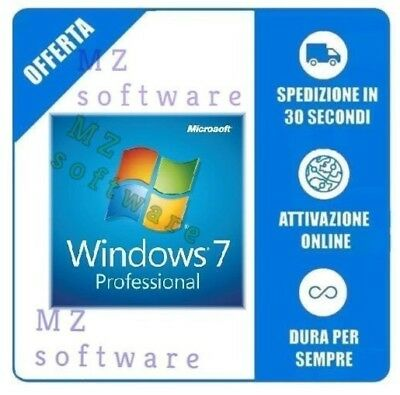 Windows 7 Pro Professional 32/64 Bit Licenza Esd