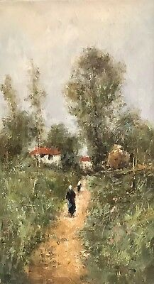 Fine Russian Impressionist Oil Painting - Figures Walking Along Rural Lane