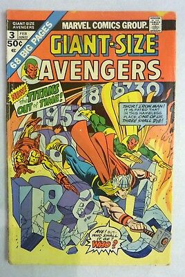 Giant Size Avengers 3 Bronze Age 1974 VG- Condition Marvel Comics