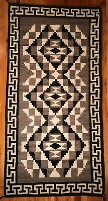 "Navajo Two Grey Hills Rug, Beautiful Crenelated Border, 33"" x 64"", Circa 1950"