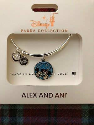 Disney World ALEX AND ANI 2019 Mickey & Minnie Mouse Silver Bangle Bracelet