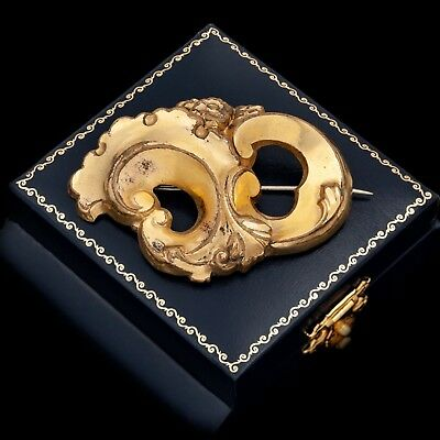 Antique Vintage Georgian 14k Yellow Gold Filled GF Rococo Repousse Pin Brooch