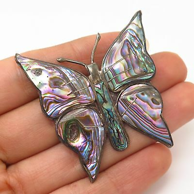 925 Sterling Silver Vintage Mexico Abalone Shell Butterfly Pin Brooch