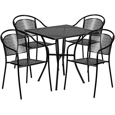 Flash Furniture Contemporary Table Chair Set In Black CO-28SQ-03CHR4-BK-GG