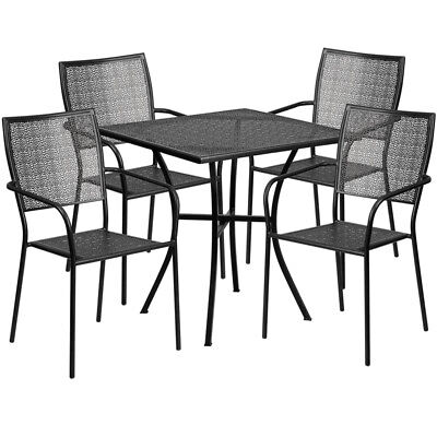 Flash Furniture Contemporary Table Chair Set In Black CO-28SQ-02CHR4-BK-GG