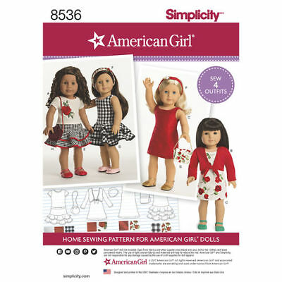 """NEW Simplicity sewing pattern 8536 for 18"""" Doll Clothes Tops Dress Skirt"""