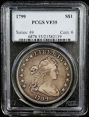 1799 Draped Bust Silver Dollar certified VF 35 by PCGS!