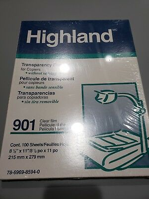 Highland 901 Transparency Film For Copiers 100 Sheets 8.5 X 11 Nip