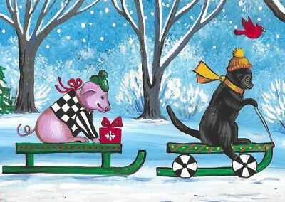 Aceo Print Of Painting Ryta  Xmas Folk Art Winter Landscape Snow Pig Black Cat