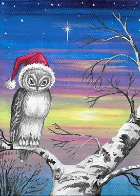 Aceo Print Of Painting Ryta Owl Christmas Snow Birch Winter Folk Art Landscape