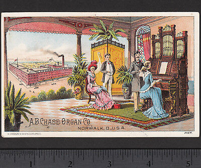 Chase Organ Norwalk Parlor Factory View 1800's Victorian Advertising Trade Card