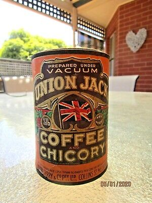 1900's 1/2lb UNION JACK COFFEE & CHICORY TIN AUSTRALIAN TIN MELBOURNE VHTF