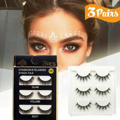 HOT 3D Mink Natural Cross Long Thick Fake False Eyelashes Eye Lashes Extension Z