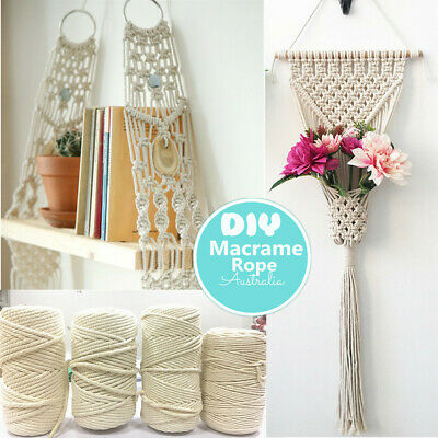 3/4/5/6mm Macrame Rope Natural Beige Cotton Twisted Cord Artisan Hand Craft New