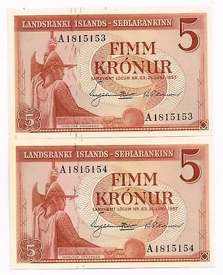 LOT OF TWO L.1957 ICELAND 5 KRONUR NOTES IN SEQUENCE - p37