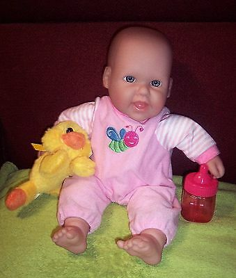 """Berenguer 13"""" Cutie Doll With Yellow Duck Bottle Smile Blue Eyes Easter GUC"""