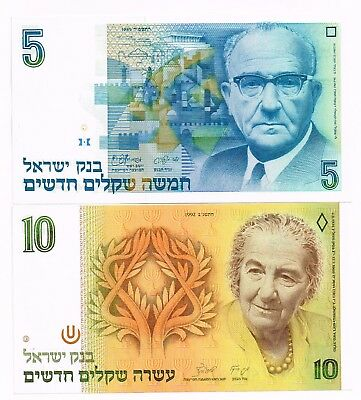 LOT OF TWO 1985-92 ISRAEL 5 & 10 NEW SHEQUALIM NOTES - p52a,53c