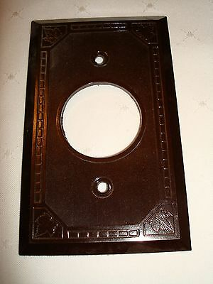 Vintage Hale Bros. Bakelite Single Gang Brown Ribbed Wall Plate Nos Maple Leaf