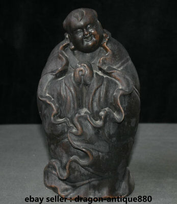 """10.4"""" Old Chinese Wood Carving Dynasty Lotus Leaf Tongzi Boy Baby Sculpture"""
